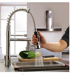 Wholesale Faucet Sink - Wholesale- Hot Sale Chrome Brass Spring Kitchen Faucet Single Handle Hole Dual Sprayer Vessel Bar Sink Faucet Mixer Tap