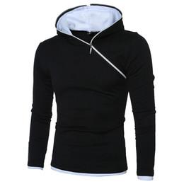Wholesale Mens Oblique Hoodie - Mens hoodies long sleeve cotton blend pullover sweater oblique zipper design