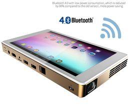 Wholesale Manual Window - Wholesale- T1 Windows Tablet Projector Portable Projector WXGA Full HD DLP with Intel Z8300 2GB 32GB with HDMI USB VGA Wireless