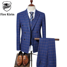 Wholesale Men Double Breasted Suit Slim - Wholesale- Fire Kirin Double Breasted Suit Men 2017 Brand Slim Fit Mens Plaid Suits British Style 3 Piece Groom Wedding Suit Navy Blue Q318