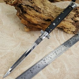 Wholesale Styling Blade - 13 Inch stiletto Italian style Folding Knife Dagger Style Black Pakka Wood