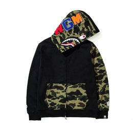 Wholesale blend jacket - 2017 Autumn Winter New Hip Hop Streetwear Embroidery Shark Camo Spilce Cardigan Cotton Hoodie High Quality Male Jacket Sweater