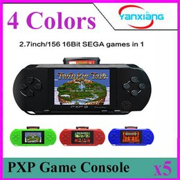 Wholesale Dual Sim Slim - 5PCS 16 Bit Video Games Player PXP3 Slim Station Pocket Game Handheld Game Console+Dual sim Card+ Gift Box! YX-PXP3
