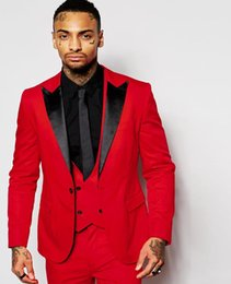 Wholesale Orange Skinny Ties - Wholesale- Fashion Red Mens Suits Black Peaked Lapel Three Pieces Groom Tuxedos Custom Made Slim Fit Groomsmen ( Jacket+Pants+Vest+Tie)