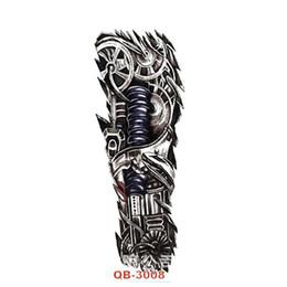 Wholesale Mechanical Arm - Wholesale- 15*45cm Robot Arm Large Temporary Tattoos Mechanical Patten Fake Tattoo Stickers Waterproof Men Art Tattoos