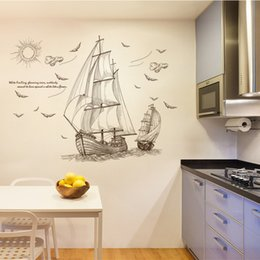 Wholesale Famous Charts - 120cm X 89cm sailboat Wall Decal PVC Home Sticker House Vinyl Paper Decoration Wall Paper Living Room Bedroom Kitchen Art Picture DIY Kids N