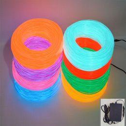 Wholesale El Neon Meter - Freeshipping 50 Meter Flexible Neon Glow EL Wire Rope With AC90-240V Inverter 10 Colors