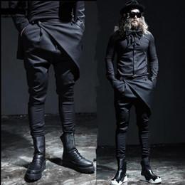Wholesale Fly Shows - Wholesale-New men's pant male fashion casual skirt pant trousers men stage show punk slim fit boots black pant men autumn clothing A28