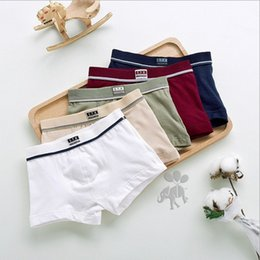 Wholesale Kids Wholesale Boxers - 5 Pcs lot High Quality Cotton Kids Boys Underwear Pure Color Shorts Panties For Baby Boys Boxer Children's Teenager Underwear