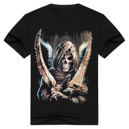 Wholesale Death Shirts - 2017 Halloween Fashion streetwear Death Skeleton men's 3d t-shirt black Skull short sleeve clothes t shirt o neck Tops men's tshirt BMTX09 F
