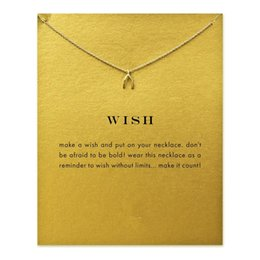 Wholesale Wishbone Necklaces - Hot Sale Sparkling wishbone gold color plated Pendant necklace Clavicle Chains Statement Necklace Women Jewelry(Has card)