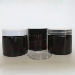Wholesale Cream Pet Packages - DIY 50g Amber PET Cream Bottle, 50cc Brown Cosmetic Packaging with Plastic lids White Black Clear