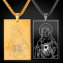 Wholesale Party Gods - U7 New Blessed Virgin Mary Mother of God Pendant Necklace Gold Black Gun Plated Rope Chain Dog Tags for Women Men Cross Jewelry