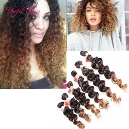 Wholesale Kanekalon Weaving Hair - ombre braids Jerry curly SEW IN HAIR EXTYENSIONS FREETRESS ombre brown kanekalon SYNTHETIC braiding Hair burgundy color weave bundles