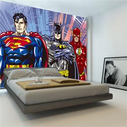 Wholesale Batman Decor - Custom 3D Wall Murals Batman Superman Flash Wallpaper Comics photo wallpaper Boys Kids Bedroom Living room Room decor Superhero