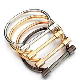 Wholesale Stainless Steel D Shackle - Unisex D Shackle Screw Cuff Titanium Steel Bangle Bacelets Rock Punk Style Gold Plated Stainless Steel Women Bracelet