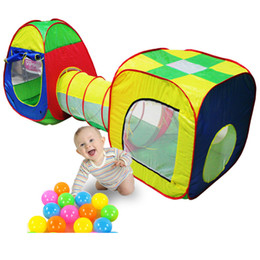 Wholesale Pop Tunnel - Hot Sale 3pcs Pop-up Play Tent Baby Playing House Toys Storage Tent Cubby-Tube-Teepee Children Tunnel Kids Adventure House Toy