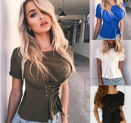 Wholesale Wholesale Clothes Bundles - 2017 new 4 colors Casual fashion bind bundled O-Neck Solid short tops Women's clothing short sleeve T-shirt free shipping