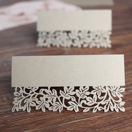 Wholesale Pearls Place - Wed party centerpieces light gold pearl paper laser cut vintage place card name card holders customized size free shipping