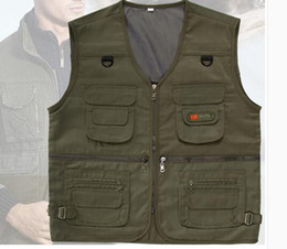 Wholesale Green Photographers - Spring and Autumn Outdoors Multi-Pocket Vest Photographer Reporters Fishing Vest Men's Casual Mallets