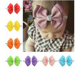 Wholesale Double Grosgrain Bow - 20 colors baby grosgrain double bows Hair Pin Girls hair accessories boutique bows Baby Stretch Headband girl gift 10cm T4483