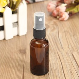 Wholesale Glass Essential Oil Containers - Wholesale- Amber Glass Atomizer Bottle 30ML Perfume Water Spray Bottles Vial For Essential Oil Dark Brown Cosmetic Containers