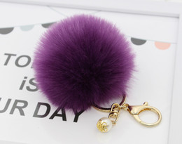 Wholesale Wholesale Pearl Keychain - Lanway Gold Rabbit Fur Ball Keychain fur pom pom Keychain fur keyring porte clef llaveros Pearl Key Chain For Bag Charm navidad regalos