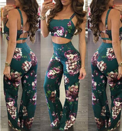 Wholesale Women S Palazzo Pants - Summer new Women two piece Fashion Sexy Halter Floral print Palazzo Boho Vintage ladies Harness crop tops +Wide Leg Pants