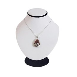 """Wholesale Display Forms - 7"""" White PU Leather Mannequin Necklace Jewelry Display Stand Pendant Bust Holder Neck Form Chain Jewellery Presentation Decorate"""