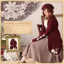 Wholesale japan style plus size fashion - Wholesale- Japan Mori Girl Lolita Style Red Wool Lace Cardigan Plus Size Long Design Jacket Fashion Women Tops Outwear Girl's Coat