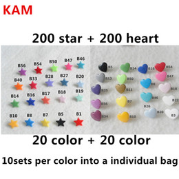 Wholesale Kam Diapers - Wholesale-( 200sets Star + 200sets Heart ) KAM T5 Star heart Plastic Snaps Buttons Fasteners snaps kam stars for baby diaper cloth nappy