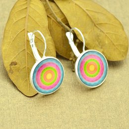 Wholesale Ethnic Rainbow - Bohemian Style Ethnic Earrings Bronze Silver Color Colorful Rainbow Earrings Design Round Cute Hoop Earrings