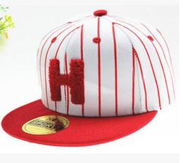 Wholesale Hats H - Snapback H letter child hats baby baseball cap hip hop flat dance hats