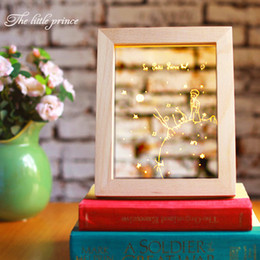 Wholesale Table Plastic Children - The Little Prince 3D Night Lamp Frame with LED Bedroom Table Desk Wood Light Base Novelty Gift for Children