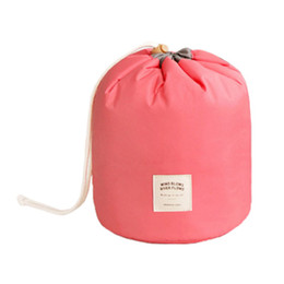 Wholesale Antique Travel - Wholesale- New Travel Makeup Bag Cosmetic Pouch Handbag Toiletry Antique Case Cylindrical Pink