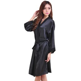 Wholesale Batik Robes - Wholesale- Black Hot Sale Summer Silk Chiffon Robe New Style Women's Kimono Bath Gown Lounge Nightgown Sexy Sleepwear One Size ZS037
