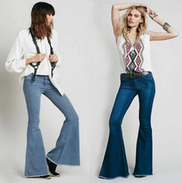 Wholesale Ladies Fashion Jeans Designer - 2017 Womens Stretch Blue Skinny Bootcut Jeans Fashion Designer Low Rise Flare Jeans For Women Ladies Long Cotton Slim Fit Denim Pants