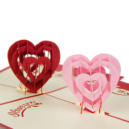 Wholesale 3d Handmade Card Designs - (10 pieces lot)Love Heart Design Handmade Creative Kirigami & Origami 3D Pop UP Greeting & Gift Cards for Lovers Free Shipping
