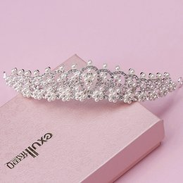 Wholesale Decorate Tiaras - shiny elegant full crystal beads pearl decorated bridal tiaras hair accessories wedding crown bride hair accessories 0003