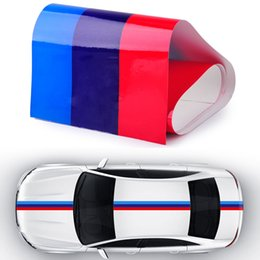 Wholesale Flag Car Window - 2017 Hot Sale Fits For BMW M-Colored Power Flag Stripe Sticker Decal Auto Car Hood Roof Fender 2M