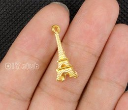 Wholesale Gold Eiffel Tower Charms - 100pcs-- Antique Silver Gold Bronze 3D Eiffel Tower 2 Sided Charms Pendant, Bracelet Necklace Lovely Connector DIY Jewelry Making