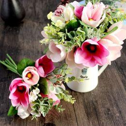 Commercio all'ingrosso 30 CM Quasi Naturale Seta Magnolia Fiori Artificiali Grado Superiore Mazzi Da Sposa Per Matrimonio Dolce Home Decor FAI DA TE da