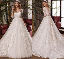 Wholesale Covers Sashes - 2017 New Bow Crystal Sash Wedding Dresses With Gorgeous V Neck 3 4 Sleeve See Through Back Sweep Train Bridal Gown
