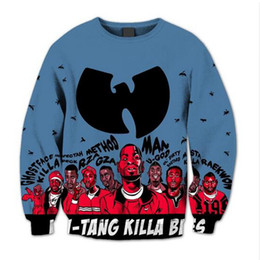Wholesale Sublimation Sleeve - Wholesale-Wu Tang Clan 3D Sublimation print Crewneck Sweatshirt fleece streetwear plus size