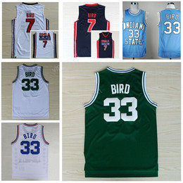 Wholesale College Basketball Usa - Wholesale 33 Larry Bird Jersey Men Indiana State Sycamores College 7 Larry Bird Basketball Jerseys 1992 USA Dream Team Blue White Green