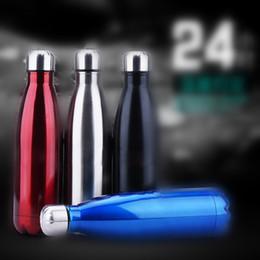 jaula de botella de carbono verde Rebajas Cola Estilo Botella de termo de acero inoxidable de 500 ml Botella de vacío Estilo de calle Taza termo deportiva Mañana corra por la noche taza de agua + B
