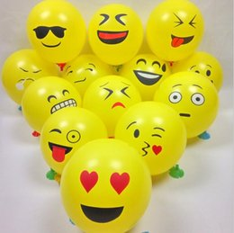 Wholesale Pearl Smile - 12 Inch Emoji Expression Balloon Round Rubber Balloon Latex Smiling Face Yellow Expression Balloon Party Festival Decoration Kids Toys