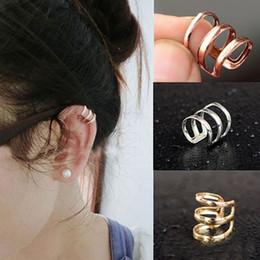 Wholesale Ear Wrap Cuff Punk Bronze - Wholesale Punk Rock Ear Clip Cuff Wrap Earrings No piercing Clip On Ear Earring Silver Gold Bronze