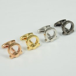 Wholesale R Modelling - F-R-G-M High Quality Best Design AAA+ Model 2 Pure Color Horseshoe Shape Famous Brand Cufflinks