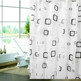 Wholesale Material Curtains - Wholesale- Modern Stylish PEVA material Thick Waterproof Mildew Shower Curtain 80*180cm Bathroom Products Fast Shipping B5